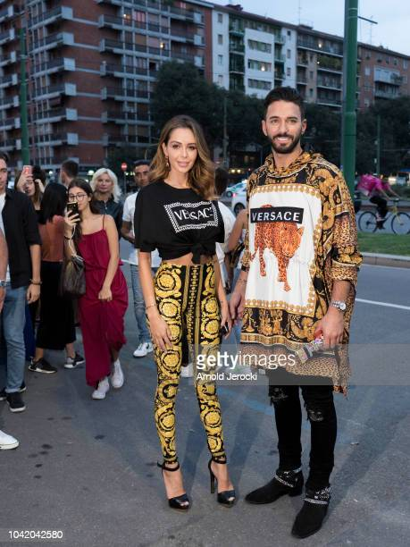 Nabilla Benattia and Thomas Vergara is seen during Milan Fashion Week Spring/Summer 2019 on September 21 2018 in Milan Italy