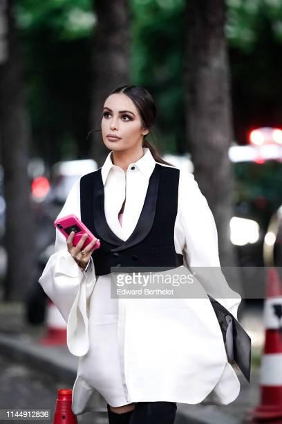 Nabilla Benattia attends the Scandal A Paris JeanPaul Gaultier's New Fragance Launch Dinner Party At Lassere on April 24 2019 in Paris France