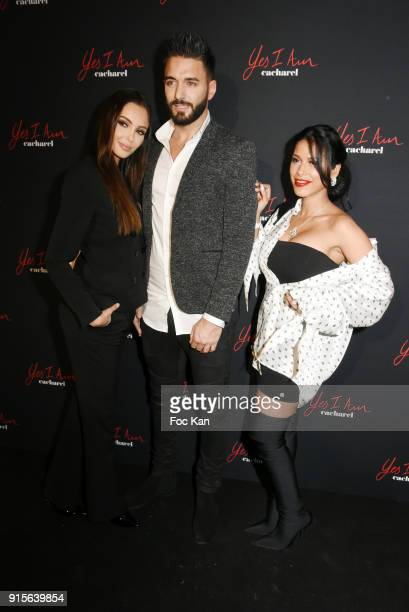 Nabilla Benattia Thomas Vergana and Ayem Nour attend the Yes I Am Cacharel Flagrance Launch Party at the QG on February 7 2018 in Paris France
