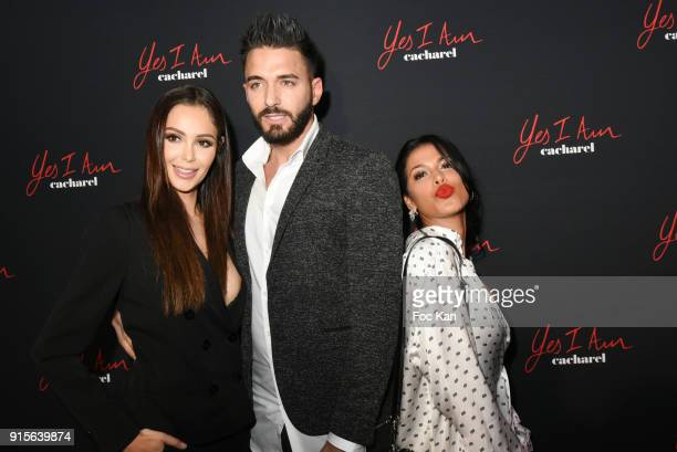 """Nabilla Benattia, Thomas Vergana and Ayem Nour attend the """"Yes I Am"""" Cacharel Flagrance Launch Party at the QG on February 7, 2018 in Paris, France."""
