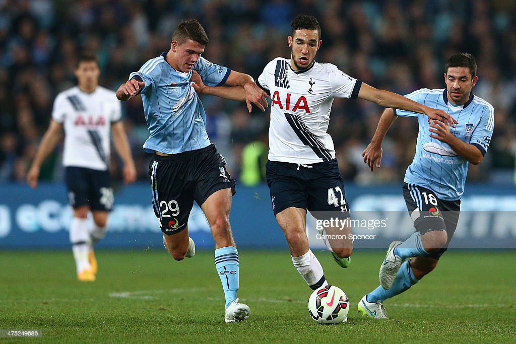Nabli Bentaleb of Hotspur breaks the Sydney FC defence during the international friendly match between Sydney FC and Tottenham Spurs at ANZ Stadium on May 30, 2015 in Sydney, Australia.