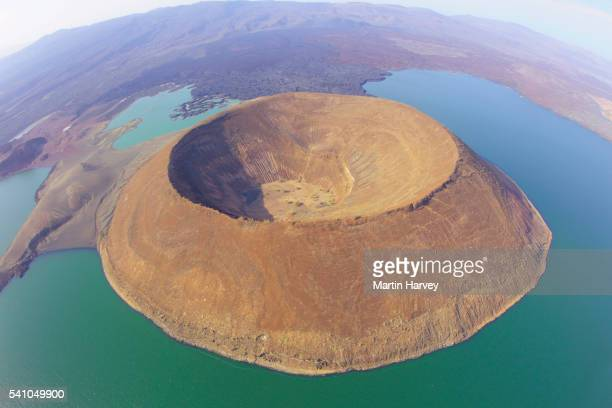 nabuyatom crater in southern edge of lake turkana in kenya - national park stock pictures, royalty-free photos & images