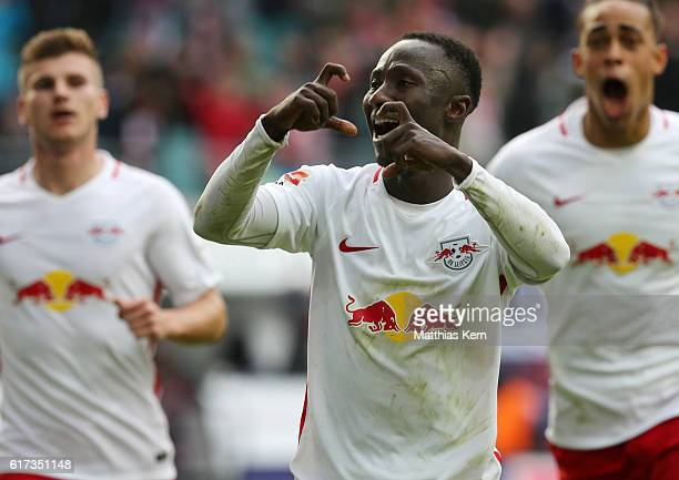 Naby Deco Keita of Leipzig jubilates after scoring the first goal during the Bundesliga match between RB Leipzig and SV Werder Bremen at Red Bull...