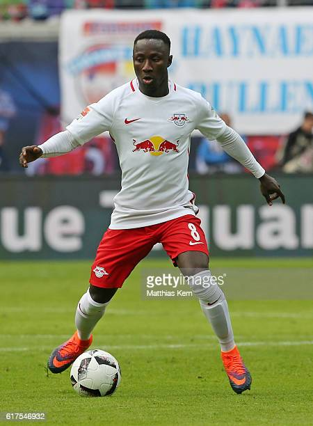 Naby Deco Keita of Leipzig runs with the ball during the Bundesliga match between RB Leipzig and SV Werder Bremen at Red Bull Arena on October 23...