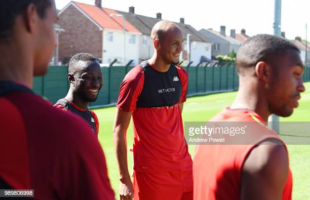 Naby Keita and Fabinho of Liverpool during their first day back for preseason training at Melwood Training Ground on July 2 2018 in Liverpool England