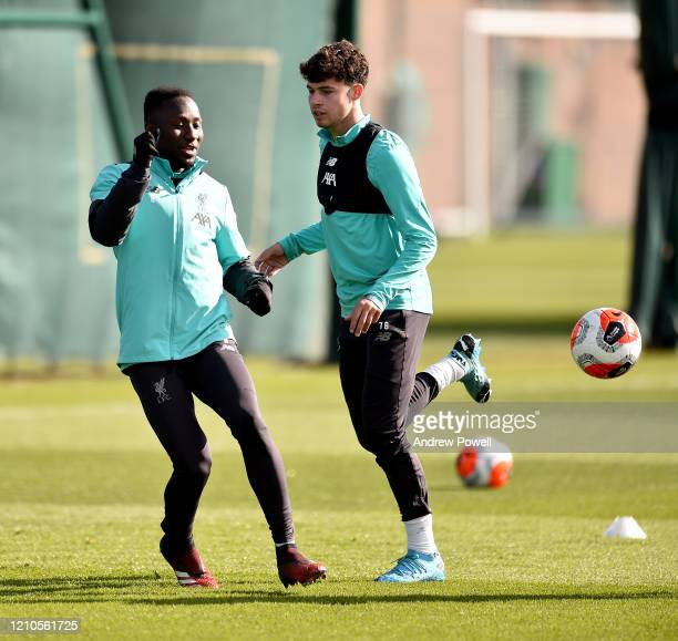 Naby Keita and Neco Williams of Liverpool during a training session at Melwood Training Ground on March 05 2020 in Liverpool England