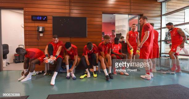 Naby Keita Danny Ward Dominic Solanke Conor Masterson Sheyi Ojo and James Milner of Liverpool before a training session on the second day back at...