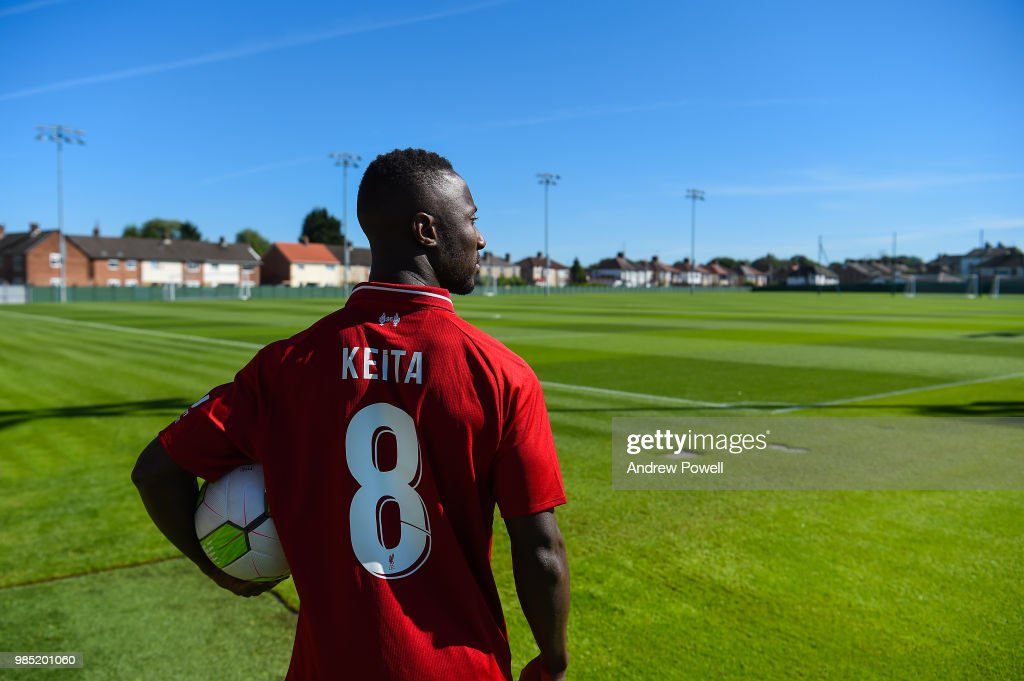 Naby Keita new signing of Liverpool Football club at Melwood Training Ground on June 22, 2018 in Liverpool, England.