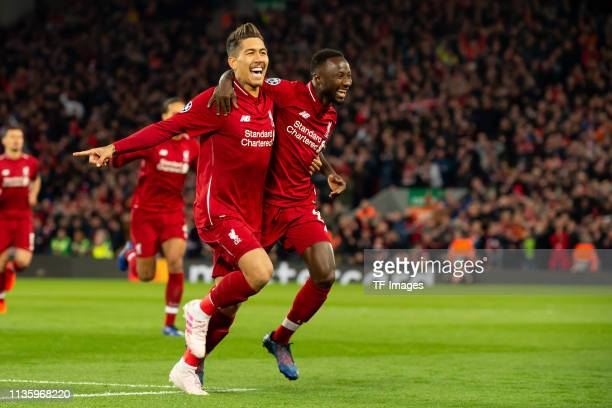 Naby Keita of FC Liverpool celebrates after scoring his team's first goal with team mate during the UEFA Champions League Quarter Final first leg...