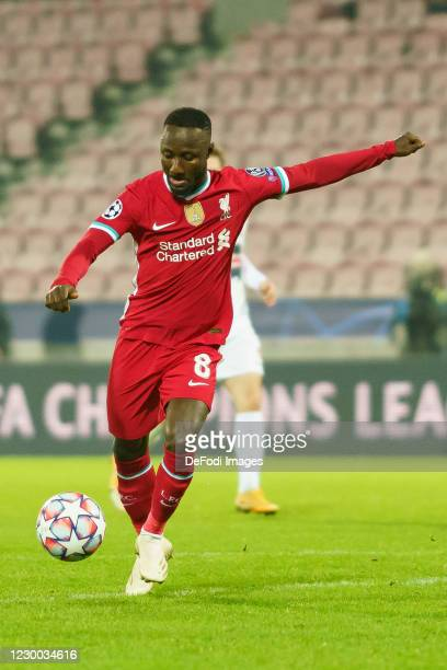 Naby Keita of FC Liverpool controls the ball during the UEFA Champions League Group D stage match between FC Midtjylland and Liverpool FC at MCH...
