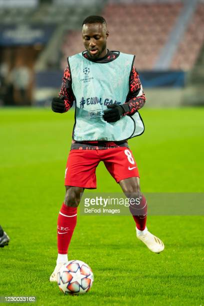 Naby Keita of FC Liverpool looks on during the UEFA Champions League Group D stage match between FC Midtjylland and Liverpool FC at MCH Arena on...