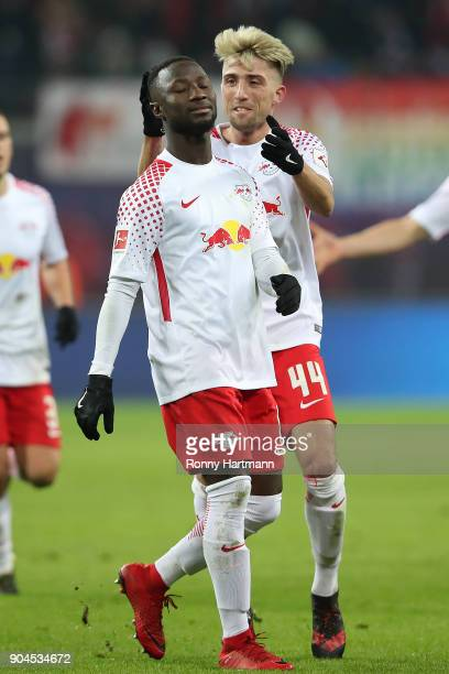 Naby Keita of Leipzig celebrates after he scored a goal to make it 10 with Kevin Kampl of Leipzig during the Bundesliga match between RB Leipzig and...