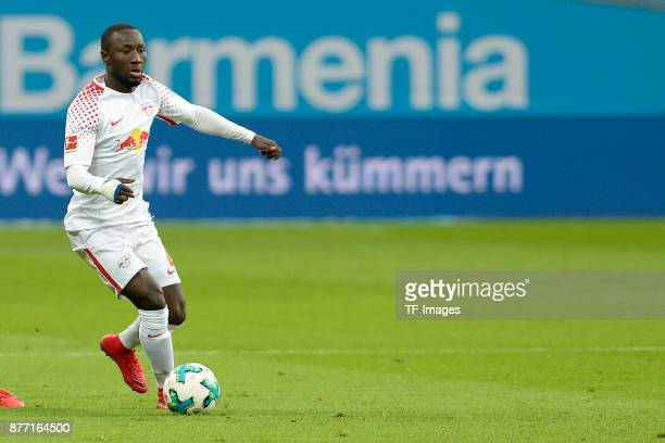 Naby Keita of Leipzig controls the ball during the Bundesliga match between Bayer 04 Leverkusen and RB Leipzig at BayArena on November 18 2017 in...