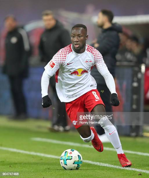 Naby Keita of Leipzig runs with the ball during the Bundesliga match between RB Leipzig and FC Schalke 04 at Red Bull Arena on January 13 2018 in...