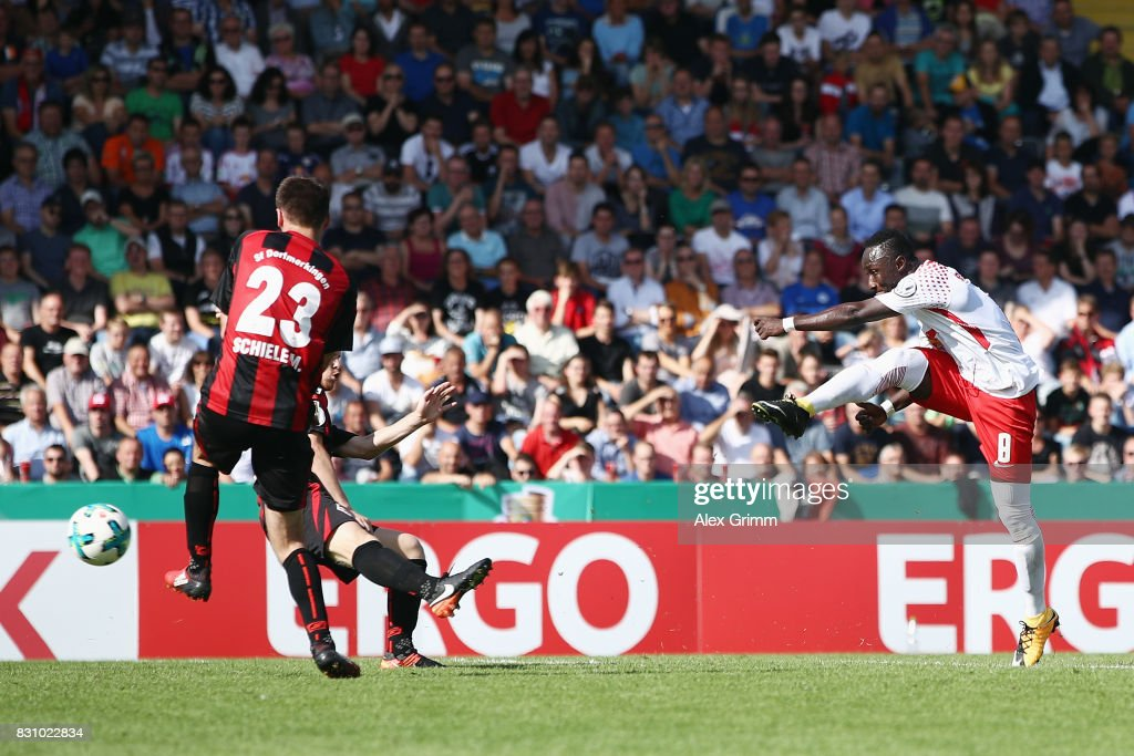 Naby Keita of Leipzig scores his team's fifth goal during the DFB Cup first round match between Sportfreunde Dorfmerkingen and RB Leipzig at Ostalb-Arena on August 13, 2017 in Aalen, Germany.