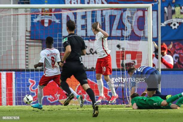 Naby Keita of Leipzig scores his team's fourth during the Bundesliga match between RB Leipzig and SV Darmstadt 98 at Red Bull Arena on April 1 2017...