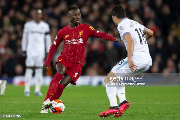 Naby Keita of Liverpool and Pablo Fornals of West Ham United during the Premier League match between Liverpool FC and West Ham United at Anfield on...