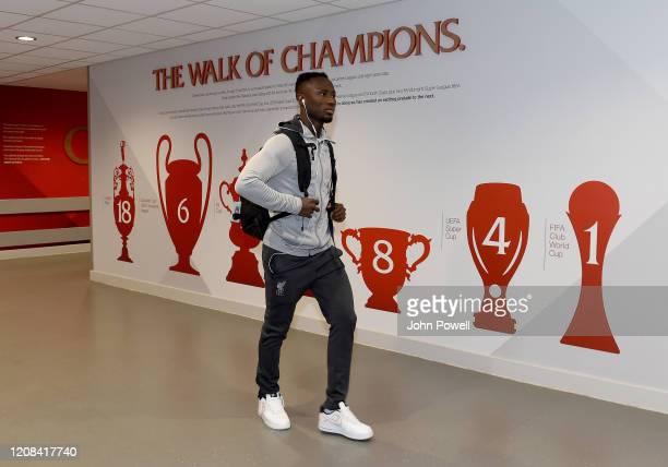 Naby Keita of Liverpool arriving before the Premier League match between Liverpool FC and West Ham United at Anfield on February 24 2020 in Liverpool...