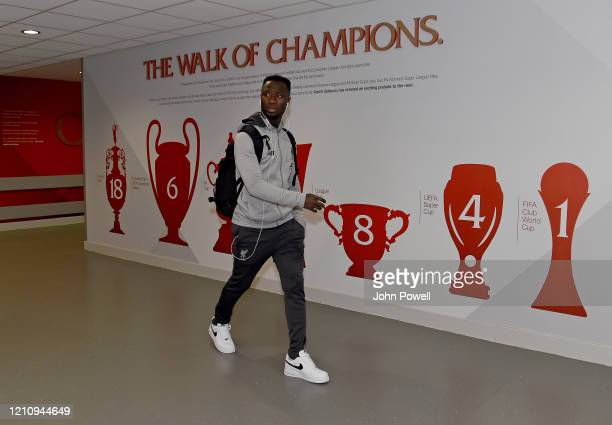 Naby Keita of Liverpool arriving before the Premier League match between Liverpool FC and AFC Bournemouth at Anfield on March 07 2020 in Liverpool...
