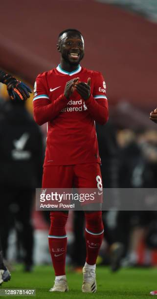 Naby Keita of Liverpool at the end of the Premier League match between Liverpool and Wolverhampton Wanderers at Anfield on December 06, 2020 in...