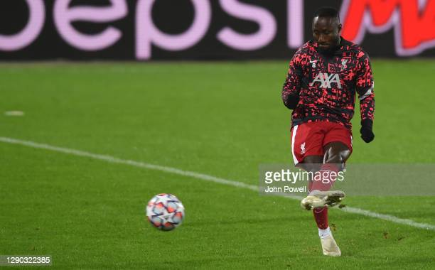 Naby Keita of Liverpool before the UEFA Champions League Group D stage match between FC Midtjylland and Liverpool FC at MCH Arena on December 09,...