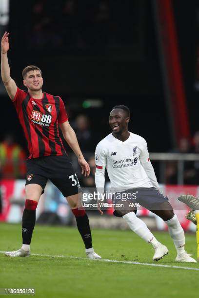 Naby Keita of Liverpool celebrates after scoring a goal to make it 02 during the Premier League match between AFC Bournemouth and Liverpool FC at...