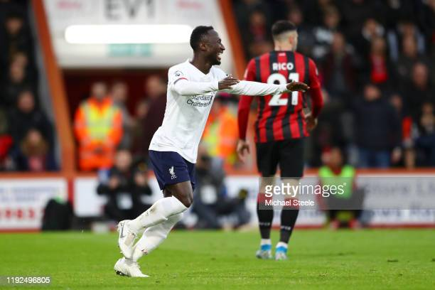 Naby Keita of Liverpool celebrates after scoring his team's second goal during the Premier League match between AFC Bournemouth and Liverpool FC at...