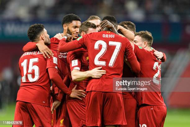 Naby Keita of Liverpool celebrates his goalwith his teammates during FIFA Club World Cup SemiFinal match between Monterrey and Liverpool FC at...