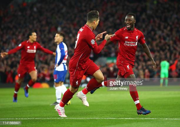 Naby Keita of Liverpool celebrates scoring his team's first goal past Iker Casillas of FC Porto during the UEFA Champions League Quarter Final first...