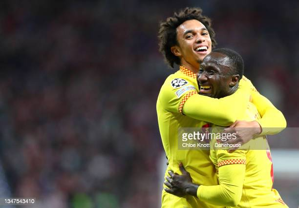 Naby Keita of Liverpool celebrates scoring his teams second goal during the UEFA Champions League group B match between Atletico Madrid and Liverpool...