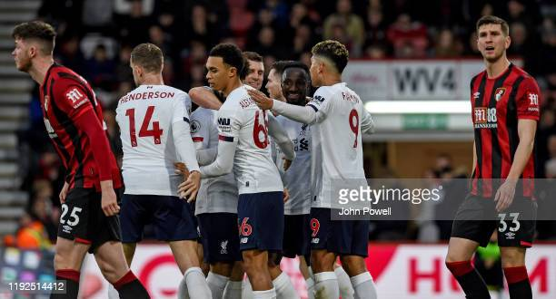 Naby Keita of Liverpool celebrating after scoring during the Premier League match between AFC Bournemouth and Liverpool FC at Vitality Stadium on...