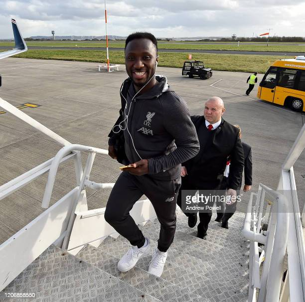 Naby Keita of Liverpool departing for Madrid at Liverpool John Lennon Airport on February 17 2020 in Liverpool England