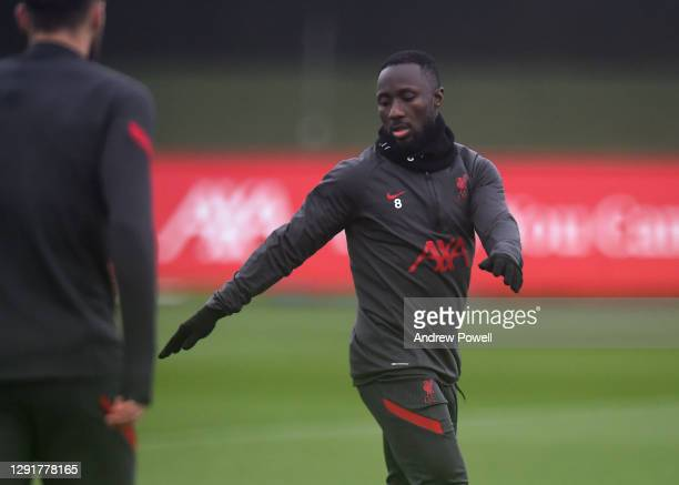 Naby Keita of Liverpool during a training session at AXA Training Centre on December 17, 2020 in Kirkby, England.