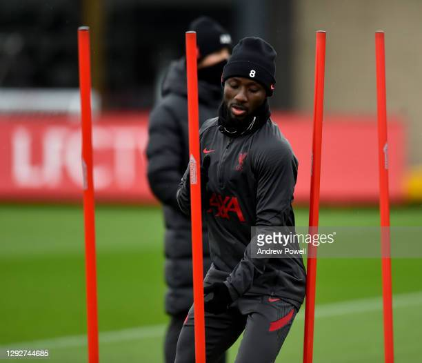 Naby Keita of Liverpool during a training session at AXA Training Centre on December 23, 2020 in Kirkby, England.