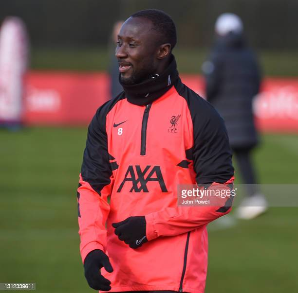 Naby Keita of Liverpool during a training session at AXA Training Centre on April 13, 2021 in Kirkby, England.