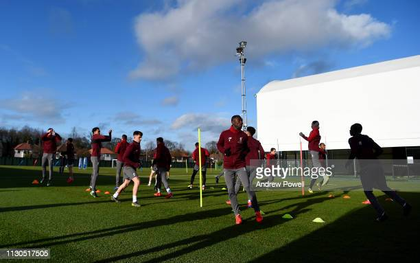 Naby Keita of Liverpool during a training session at Melwood training ground on February 18 2019 in Liverpool England
