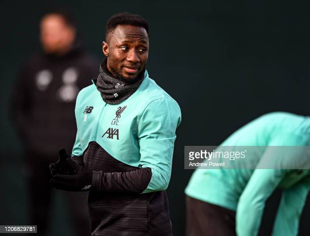Naby Keita of Liverpool during a training session at Melwood training ground on February 17 2020 in Madrid Spain
