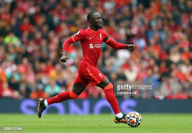 Naby Keita of Liverpool during the Premier League match between Liverpool and Burnley at Anfield on August 21, 2021 in Liverpool, England.