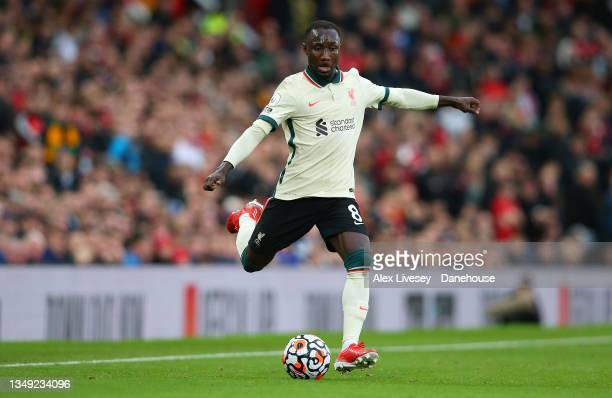 Naby Keita of Liverpool during the Premier League match between Manchester United and Liverpool at Old Trafford on October 24, 2021 in Manchester,...