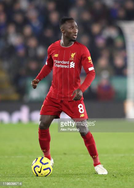 Naby Keita of Liverpool during the Premier League match between Leicester City and Liverpool FC at The King Power Stadium on December 26, 2019 in...
