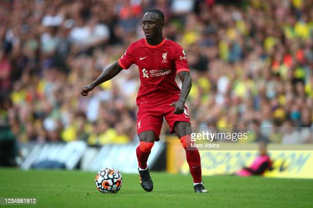 Naby Keita of Liverpool during the Premier League match between Norwich City and Liverpool at Carrow Road on August 14, 2021 in Norwich, England.