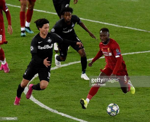 Naby Keita of Liverpool during the UEFA Champions League group E match between Liverpool FC and RB Salzburg at Anfield on October 02 2019 in...