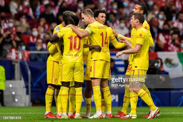 Naby Keita of Liverpool FC celebrates after scoring his sides second goal with Sadio Mane of Liverpool FC, Joel Matip of Liverpool FC, James Milner...