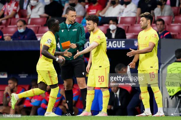 Naby Keita of Liverpool FC, Diogo Jota of Liverpool FC, Alex Oxlade Chamberlain of Liverpool FC during the UEFA Champions League match between...