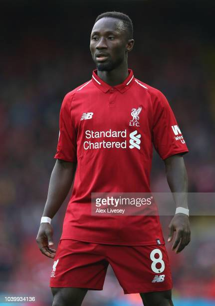 Naby Keita of Liverpool FC looks on during the Premier League match between Liverpool FC and Southampton FC at Anfield on September 22 2018 in...