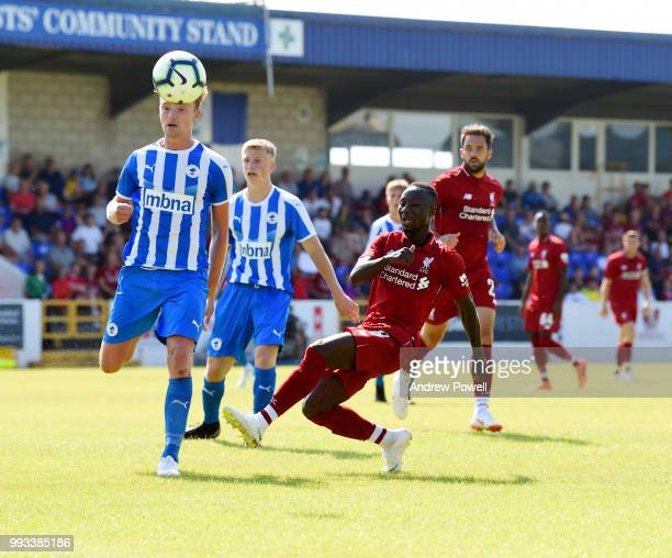 Naby Keita of Liverpool has his first shot at goal during the Preseason friendly between Chester FC and Liverpool on July 7 2018 in Chester United...