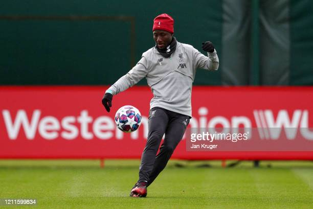 Naby Keita of Liverpool in action during a Liverpool FC Training session at Anfield on March 10 2020 in Liverpool United Kingdom Liverpool FC will...