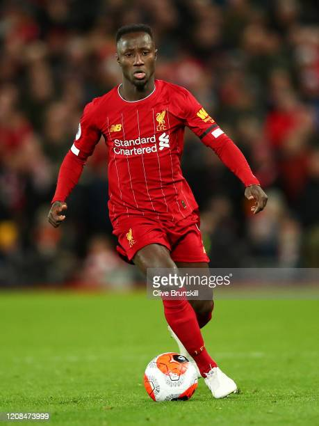 Naby Keita of Liverpool in action during the Premier League match between Liverpool FC and West Ham United at Anfield on February 24 2020 in...