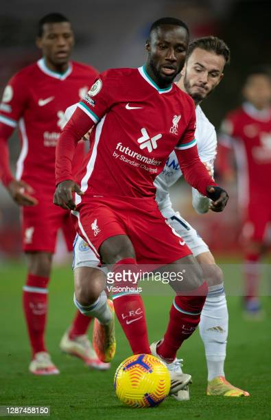 Naby Keita of Liverpool in action during the Premier League match between Liverpool and Leicester City at Anfield on November 22, 2020 in Liverpool,...