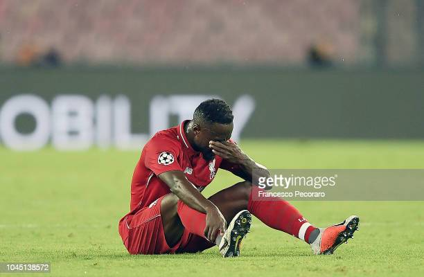 Naby Keita of Liverpool injured during the Group C match of the UEFA Champions League between SSC Napoli and Liverpool at Stadio San Paolo on October...